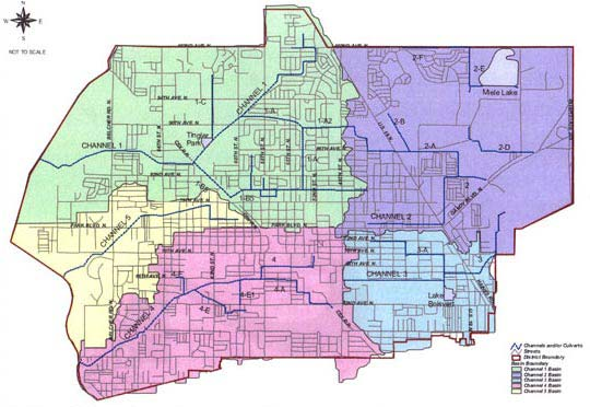Pinellas Park Water Management District                 Basin Boundaries and Channel Systems